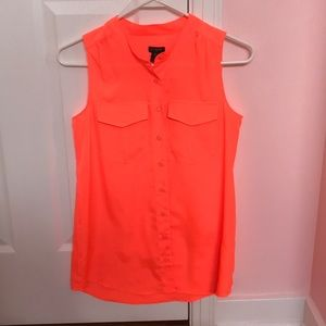 Neon Orange button down top